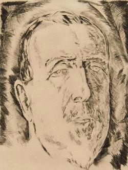 Willi Geiger: Heinrich Mann, 1921, Radierung© GDKE Rheinland-Pfalz – Landesmuseum Mainz (Foto: Ursula Rudischer)