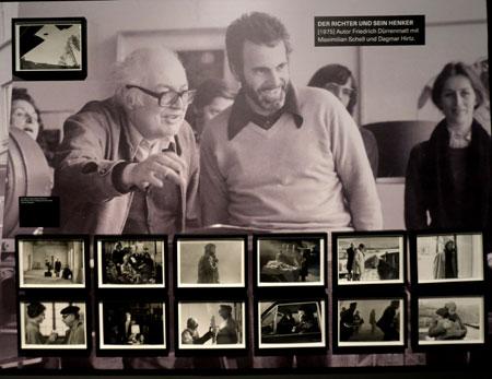 """Impression aus dem Bereich """"Literaturverfilmung"""" der Ausstellung Maximilian Schell, hier eine Szene mit dem Schriftsteller und Dramatiker Friedrich Dürrenmatt.© Foto: Diether v Goddenthow"""