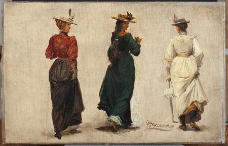 Johann Heinrich Hasselhorst, Drei schreitende Frauen in Rückenansicht, Frankfurt um 1900 © HMF, Horst Ziegenfusz