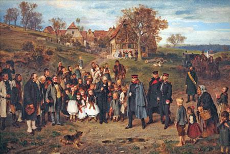 """Das zweitwichtigste Werk, das Ludwig Knaus  für Hessen hergestellt hat, ist """"Die Hoheit auf Reisen"""" von 1867. Es ist  ebenfalls zum ersten Mal in Deutschland und zeigt eine politische Reaktion auf die Übernahme der Preußen von Hessen-Nassau. Dargestellt wird, """"wie die neue Regentschaft durch ein Dorf oder daran vorbei läuft. Die ganzen Hessen schauen sich das an und sie reagieren im Prinzip auf das, was da neu ist, und ist dieses erste Beschnuppern, was Knaus hier sehr gut und einträglich eben darstellt"""", so Krämer.© Museum Wiesbaden Foto: Bernd Fickert"""