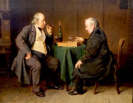 Das Damenbrettspiel, zeigt Ludwigs Knaus Vater mit seinem Schwiegervater. Theodor Fontane liebte das Werk. © Foto: Diether v Goddenthow