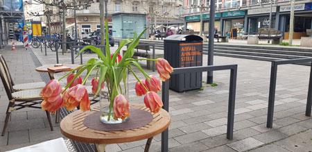 Auch Wiesbadens Innenstadt ist verwaist, und die Stimmung den Trauertulpen ähnlich, insbesondere beim Einzelhandel und der Gastronomiebranche, die um ihre Existenz und deren Mitarbeiter um ihre Arbeitsplätze bangen. © Foto: Diether v Goddenthow