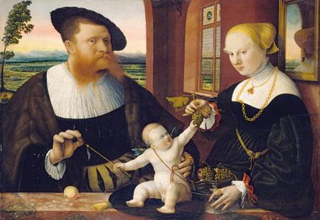 Conrad Faber von Kreuznach: Doppelbildnis des Justinian von Holzhausen und seiner Frau Anna, 1536 Mischtechnik auf Lindenholz Städel Museum, Frankfurt am Main