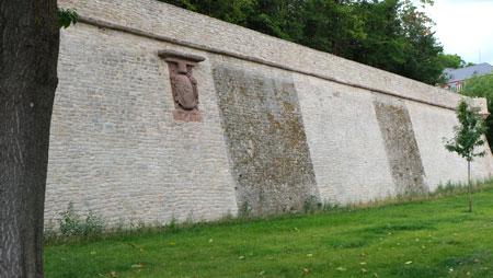 Ein stolzer Blick auf die nach Vorgaben des Denkmalamtes und Wünschen des Naturschutzes sanierte Festungsmauer der Mainzer Zitadelle. © Foto: Diether v. Goddenthow