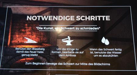 """Touchscreen zur Simulation, ein Schwert zu schmieden, an einem der zahlreichen  multimedialen Bedienstationen der Mitmach-Ausstellung """"Ritter, Bauer, Edeldame. Erlebe das Mittelalter mit Händen und Füßen""""  vom 5. Juni 2020 bis 18. April 2021 im Landesmuseum Mainz. © Foto: Diether v. Goddenthow"""