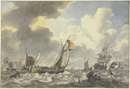Hendrik Kobell (1751–1779) Eine Antwerpener Pleit und andere Schiffe zwischen Noord Beveland und Wolphaartsdijk, 1775 Wasser- und Deckfarben, über schwarzem Stift, auf Büttenpapier 360 × 534 mm Städel Museum, Frankfurt am Main Foto: Städel Museum