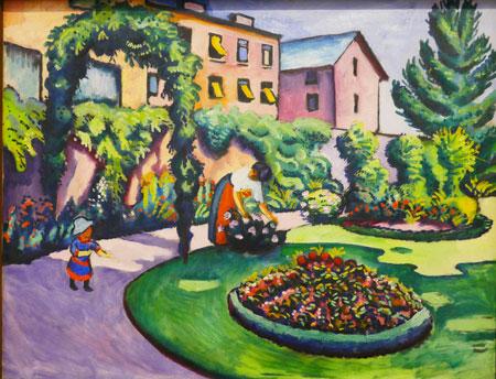 August Macke (1887 - 1914) Gartenbild 1911. In seinen Bildern unterscheidet August Macke nicht zwischen dem Glück auf dem Land und dem in der Stadt. Die Verbindung von beidem ist der Garten im urbanen Milieu, den der Künstler häufig darstellte.  Foto: Heike v. Goddenthow