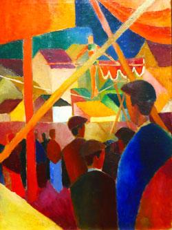 """August Macke, Die Seiltänzer, 1914. Obwohl dieser hoch über den Dächern balanciert, hat man in keinem Moment Angst, dass der nächste Schritt des Akrobaten falsch gesetzt sein könnte, so """"fest"""" fixiert der Künstler seinen Seiltänzer im farblich warm pulsierenden Bild. Foto: Heike v. Goddenthow"""