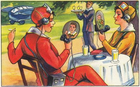 """Sammelbildchen """"Zukunftsfantasien Bildtelefon""""  aus dem Echte Wagner-Album Nr. 3, 1930. Ausstellung Back to Future. Technikvisionen zwischen Fiktion und Realität vom 18. November 2020 bis 29. August 2021  Museumsstiftung Post und Telekommunikation / Museum für Kommunikation Frankfurt/"""