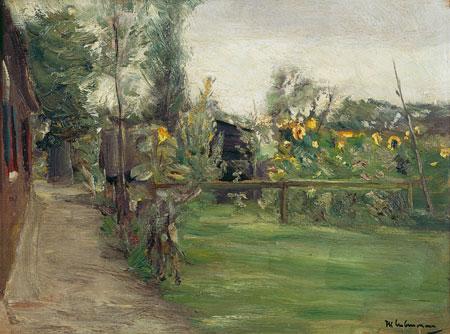 Max Liebermann, Garten mit bluehenden Sonnenblumen, 1895 © Kulturstiftung Kurt und Barbara Alten, Museo Castello San Materno, Ascona