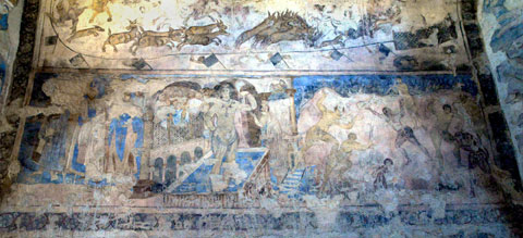 Badende,Wandmalerei im Qusair `Amra, Jordanien (8. Jh. n. Chr.), Foto: Jutta Eichholz