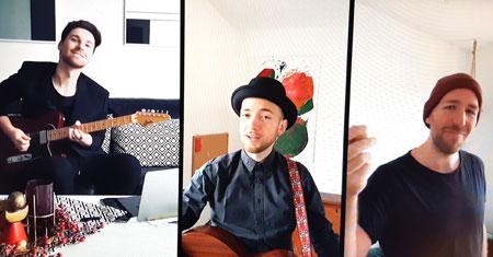 Liedermacher Sinan-Köylü-und  Musikerkollegen schlossen passend den Abend ab mit  Ernst Negers Fastnachtssong Heile, heile Gänsje. Bildschirmfoto © Diether v. Goddenthow