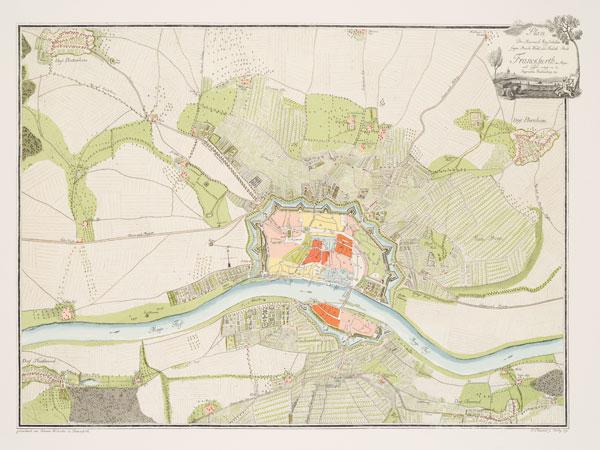 Nachdruck des Frankfurter Stadtplans von J. S. Walwert und J. Hochester von 1792, Original kolor. Kupferstich© HMF Foto: Horst Ziegenfusz
