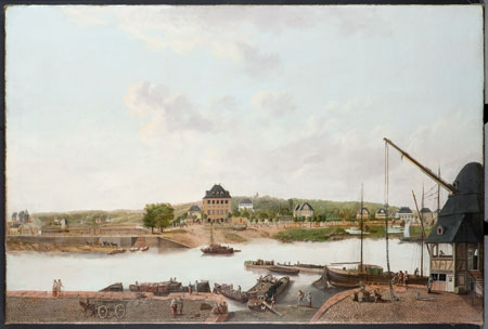 Dorothea Cuntz-Hofmann, Blick vom Frankfurter Mainufer auf das Schaumaintor, Gemälde Öl/Lw. um 1815, © HMF Foto: Horst Ziegenfusz