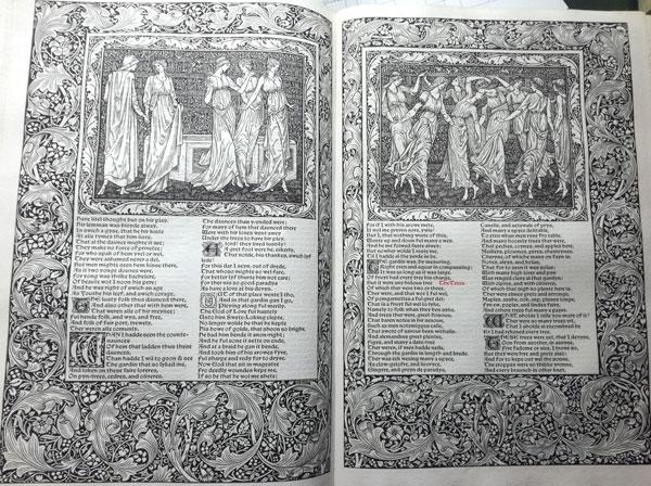 """Die Kabinett-Ausstellung im Gutenberg-Museum präsentiert Illustrationen von Edward Burne-Jones für """" The Works of Geoffrey Chaucer"""" von 1896. © Gutenberg-Museum"""