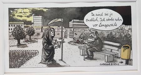 """Sensemann- Karikatur © Greser&Lenz in der Jubiläums-Ausstellung """"Greser&Lenz: Schlimm"""" im Caricatura Museum Frankfurt – Museum für Komische Kunst vom 22. Juli 2021 bis zum 21. November 2021 © Foto Diether v. Goddenthow"""