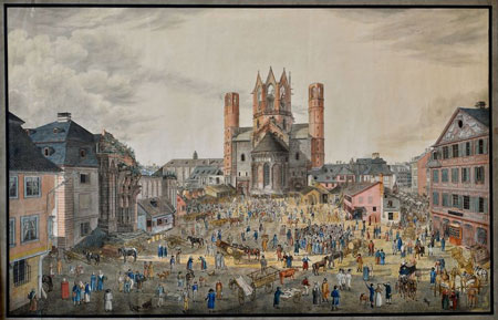 Dom und heutiger Liebfrauenplatz von Osten um 1814. Bernhard Hundshagen. © GDKE