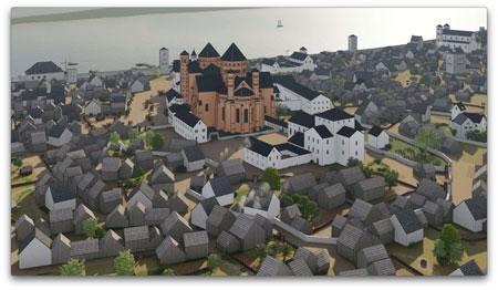 3D-rekonstruierte Mainzansicht  um 1200 © 2020, AI MAINZ/GDKE