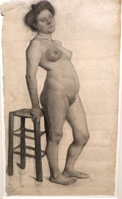 Paula Modersohn Becker. Stehender weiblicher Akt nach halbrechts, auf einen Hocker gestützt (um 1906).  © Foto  Diether v Goddenthow